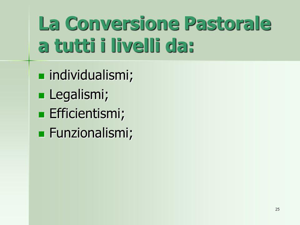 La Conversione Pastorale a tutti i livelli da: