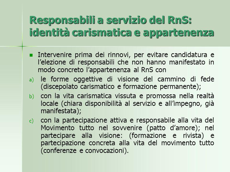 Responsabili a servizio del RnS: identità carismatica e appartenenza