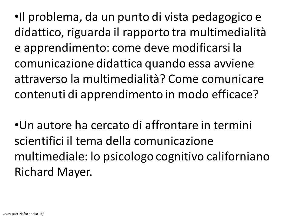 Il problema, da un punto di vista pedagogico e didattico, riguarda il rapporto tra multimedialità e apprendimento: come deve modificarsi la comunicazione didattica quando essa avviene attraverso la multimedialità Come comunicare contenuti di apprendimento in modo efficace
