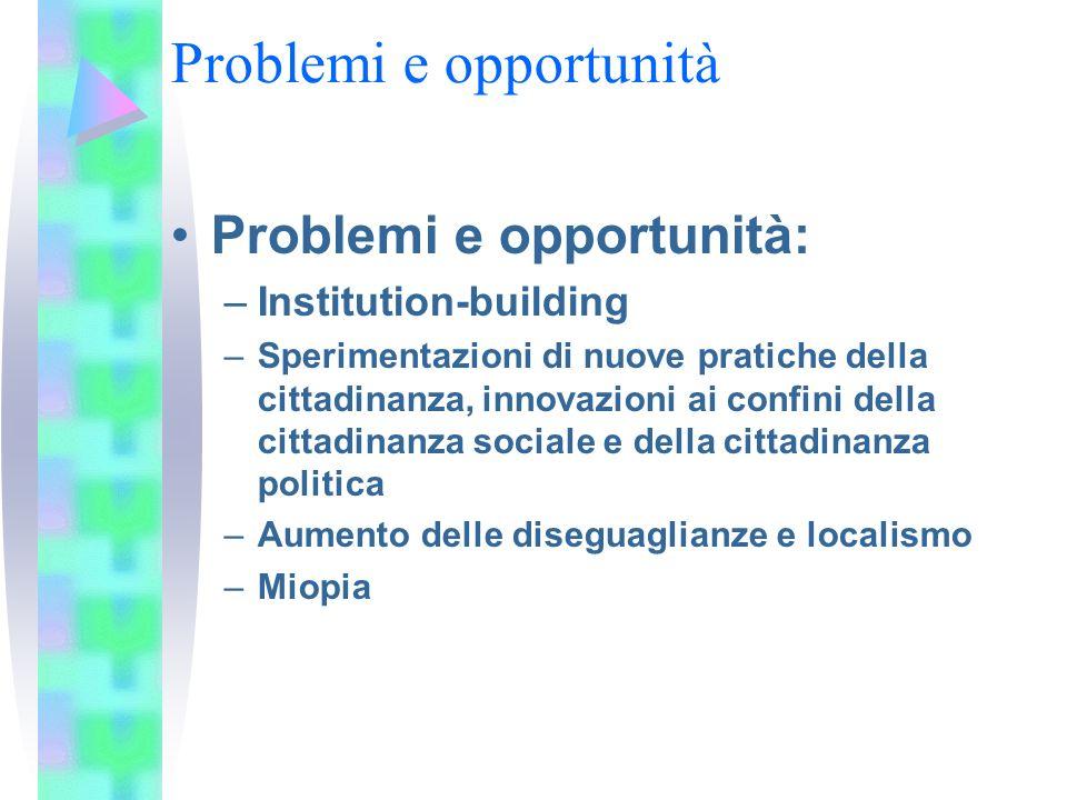 Problemi e opportunità