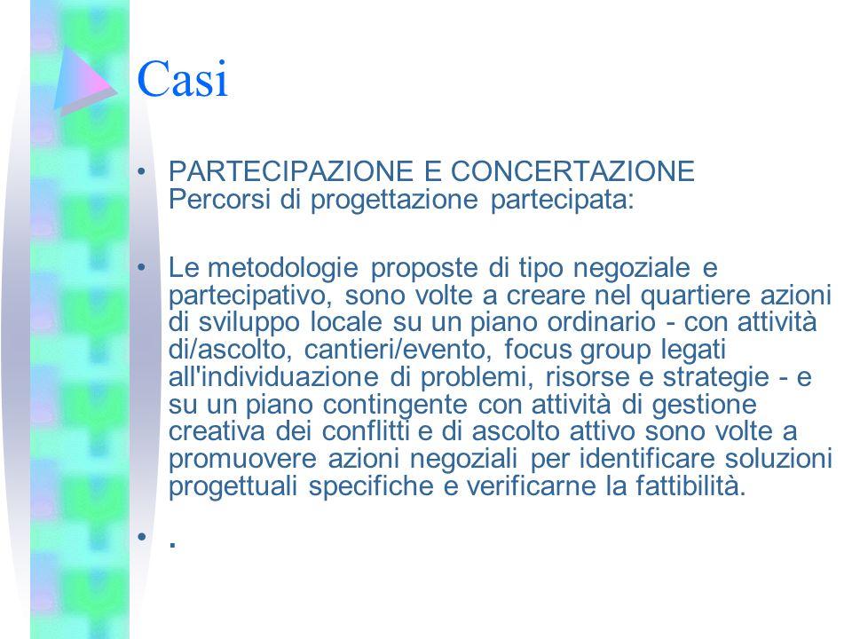 CasiPARTECIPAZIONE E CONCERTAZIONE Percorsi di progettazione partecipata: