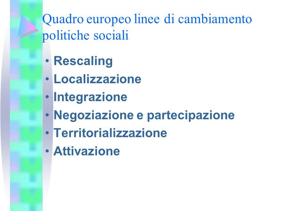 Quadro europeo linee di cambiamento politiche sociali