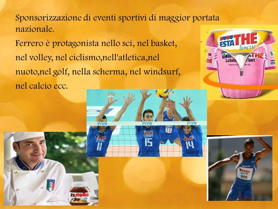 Sponsorizzazione di eventi sportivi di maggior portata nazionale.