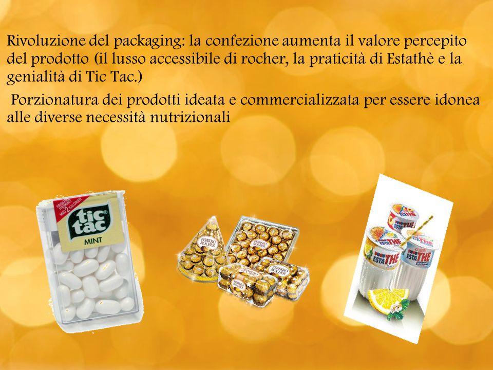 Rivoluzione del packaging: la confezione aumenta il valore percepito del prodotto (il lusso accessibile di rocher, la praticità di Estathè e la genialità di Tic Tac.)
