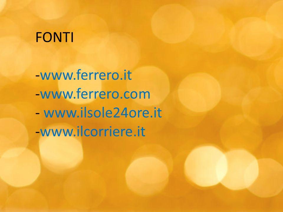 FONTI www.ferrero.it www.ferrero.com www.ilsole24ore.it www.ilcorriere.it