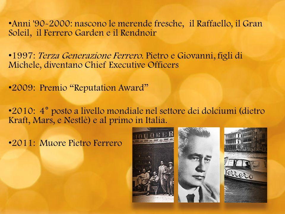 Anni 90-2000: nascono le merende fresche, il Raffaello, il Gran Soleil, il Ferrero Garden e il Rendnoir