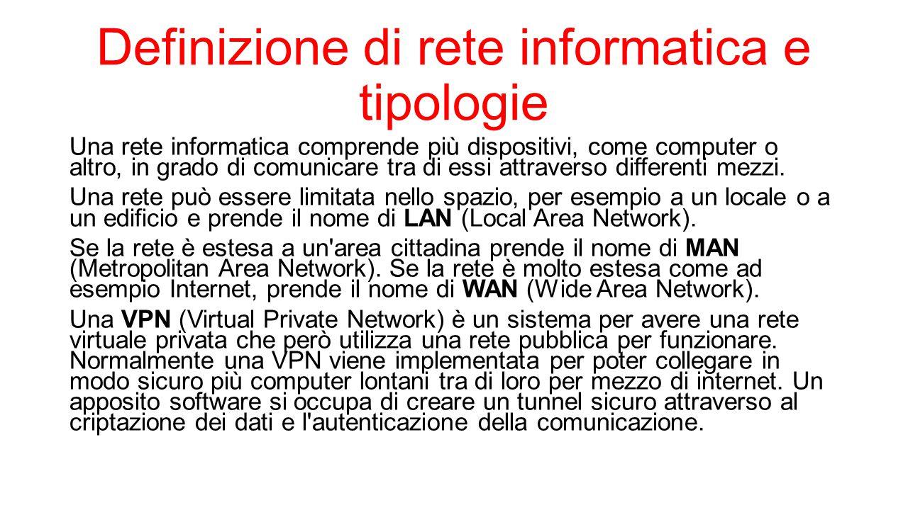 Definizione di rete informatica e tipologie