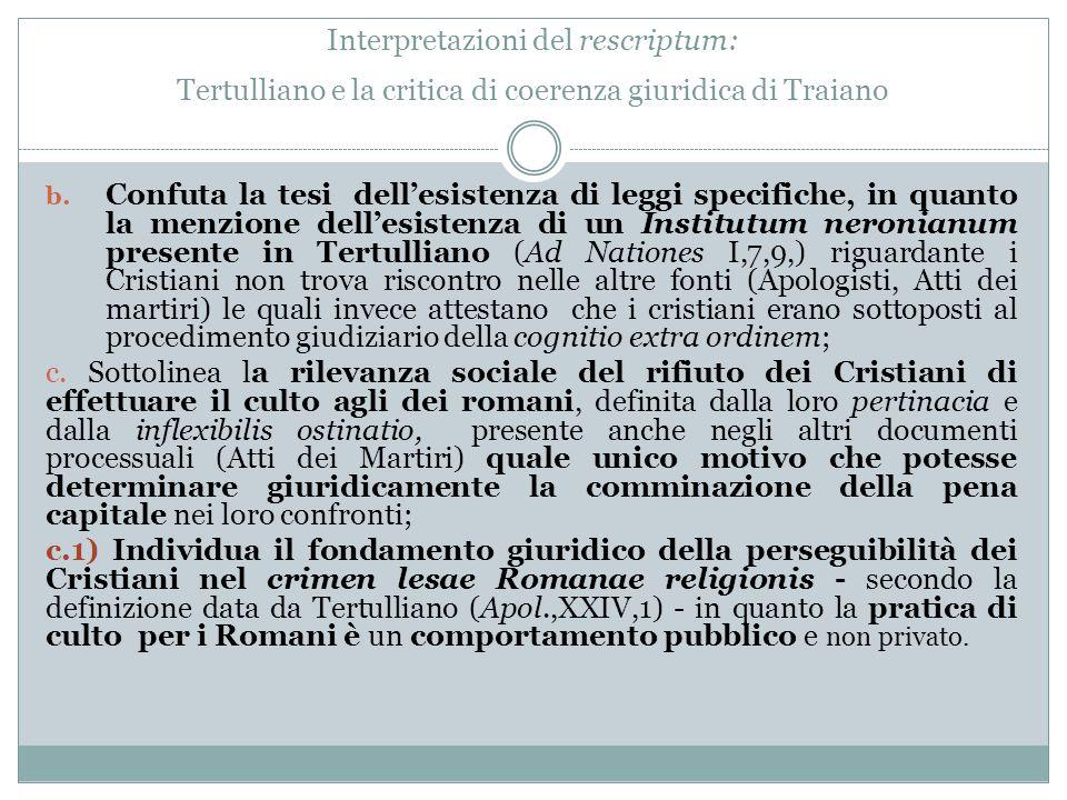 Interpretazioni del rescriptum: Tertulliano e la critica di coerenza giuridica di Traiano