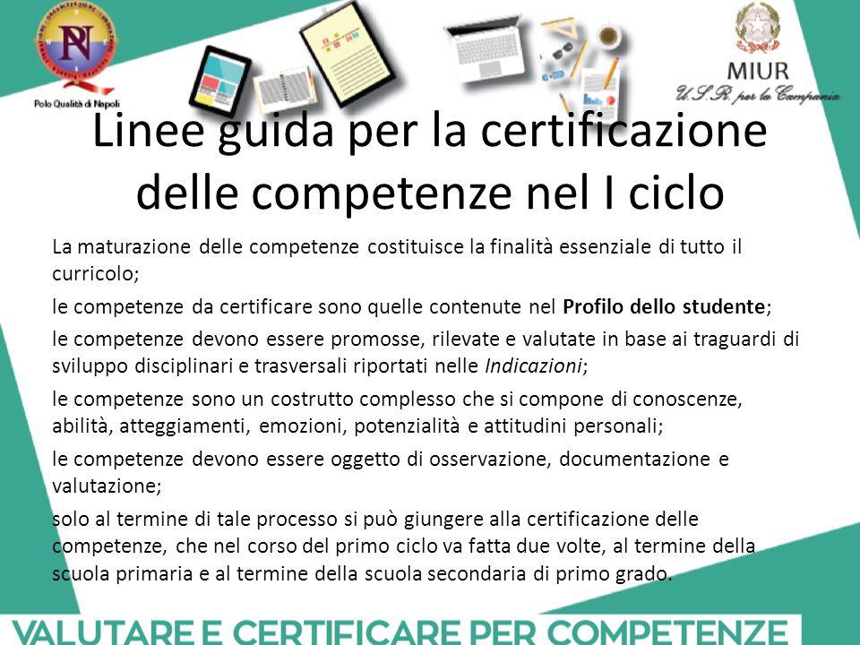 Linee guida per la certificazione delle competenze nel I ciclo
