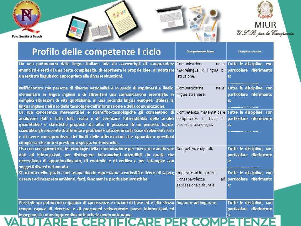 Profilo delle competenze I ciclo
