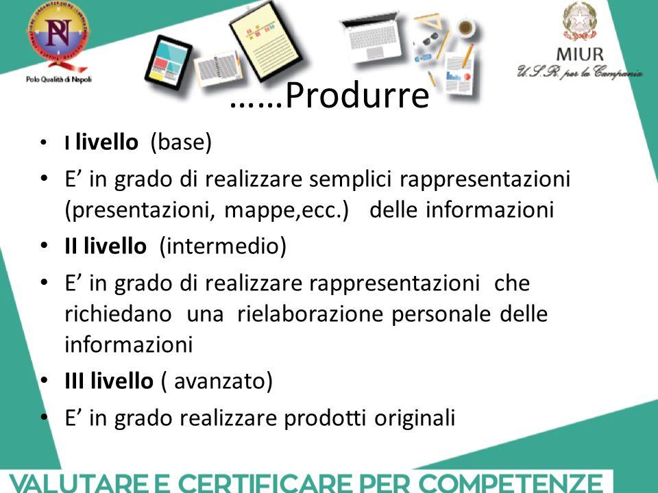 ……Produrre I livello (base) E' in grado di realizzare semplici rappresentazioni (presentazioni, mappe,ecc.) delle informazioni.