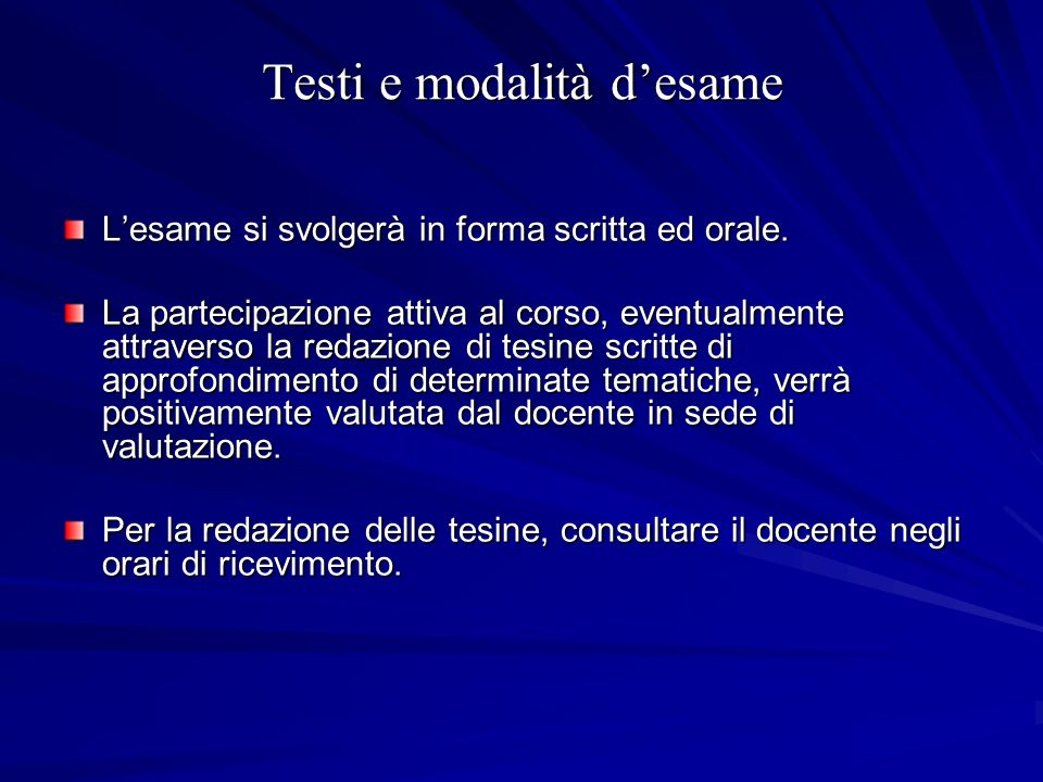 Testi e modalità d'esame