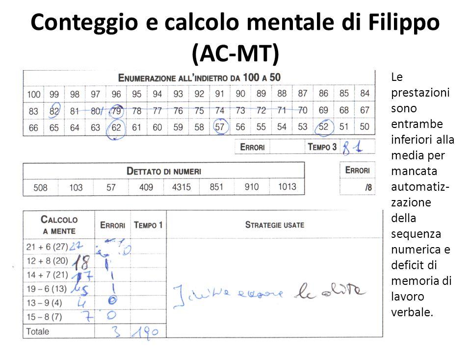 Conteggio e calcolo mentale di Filippo (AC-MT)