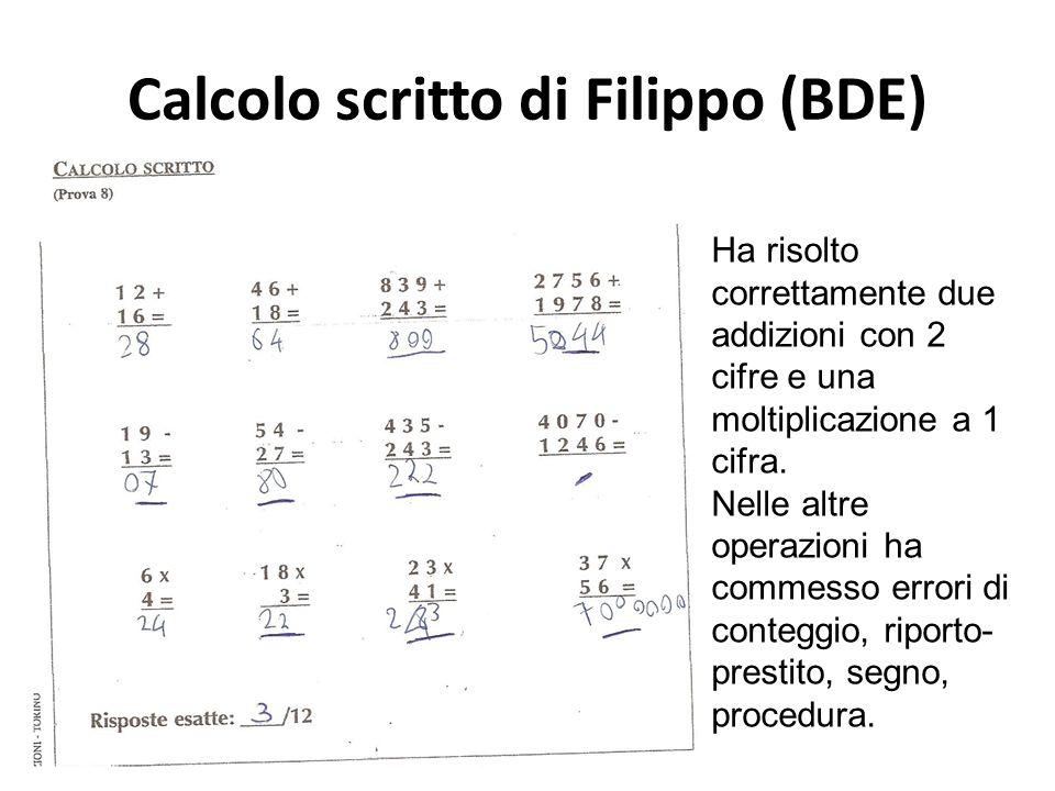 Calcolo scritto di Filippo (BDE)