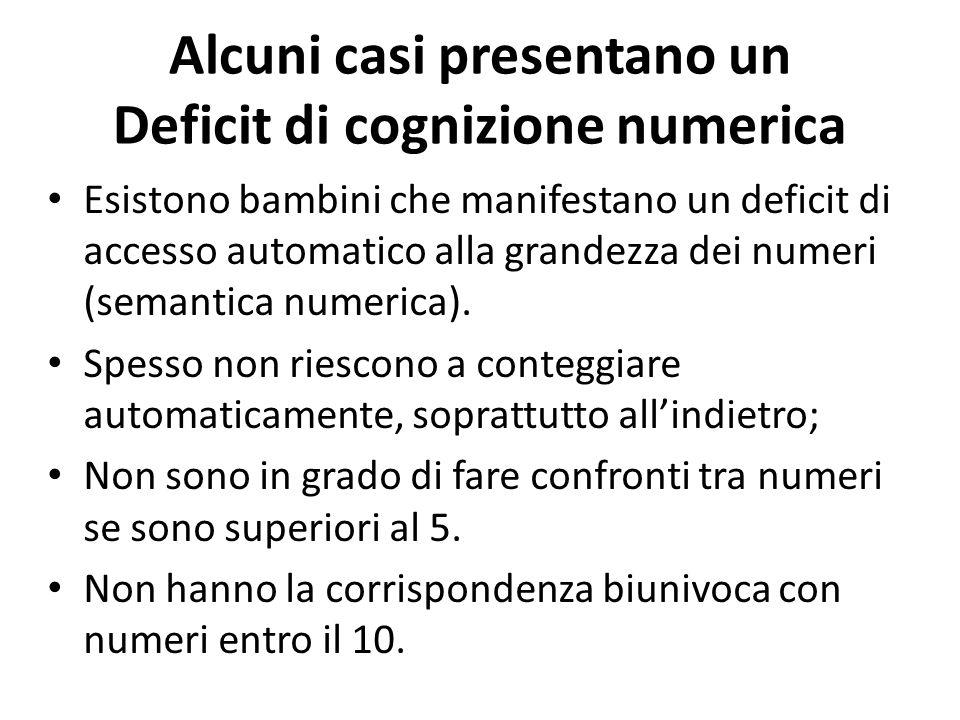 Alcuni casi presentano un Deficit di cognizione numerica