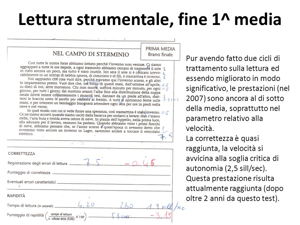 Lettura strumentale, fine 1^ media