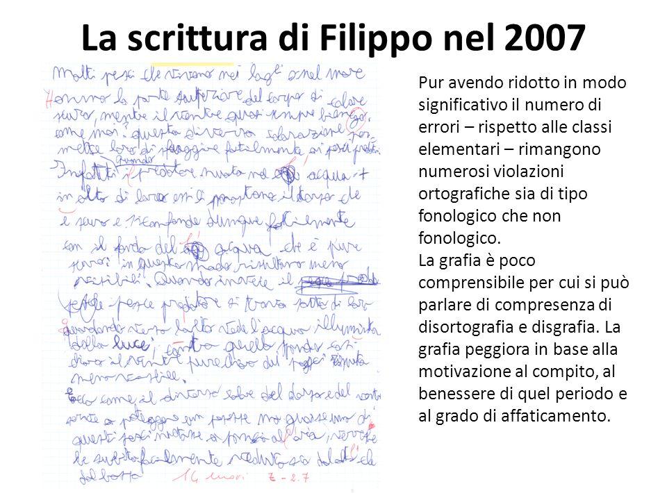 La scrittura di Filippo nel 2007