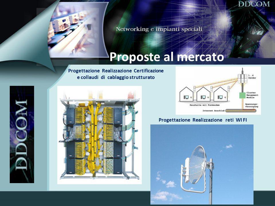 Proposte al mercato Progettazione Realizzazione Certificazione e collaudi di cablaggio strutturato.