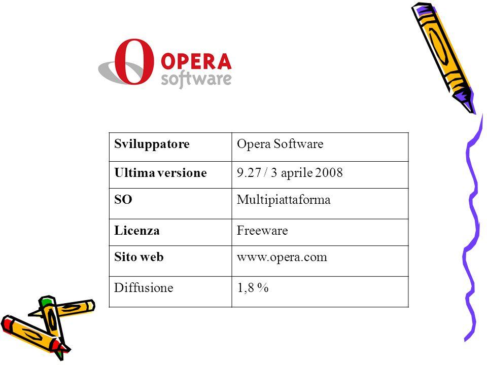 Sviluppatore Opera Software. Ultima versione. 9.27 / 3 aprile 2008. SO. Multipiattaforma. Licenza.