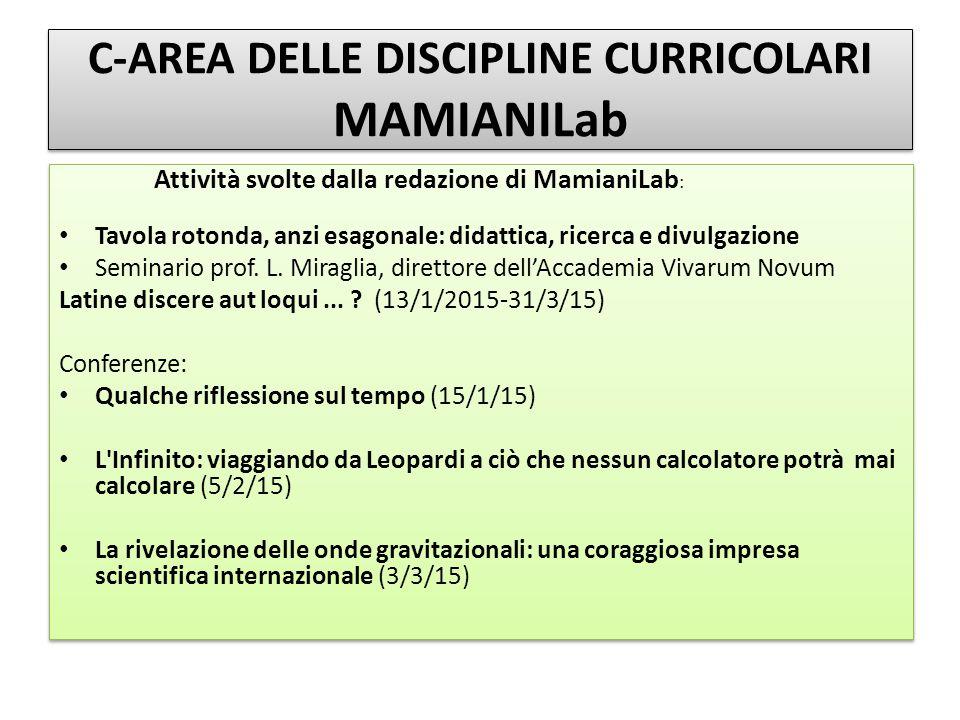 C-AREA DELLE DISCIPLINE CURRICOLARI MAMIANILab