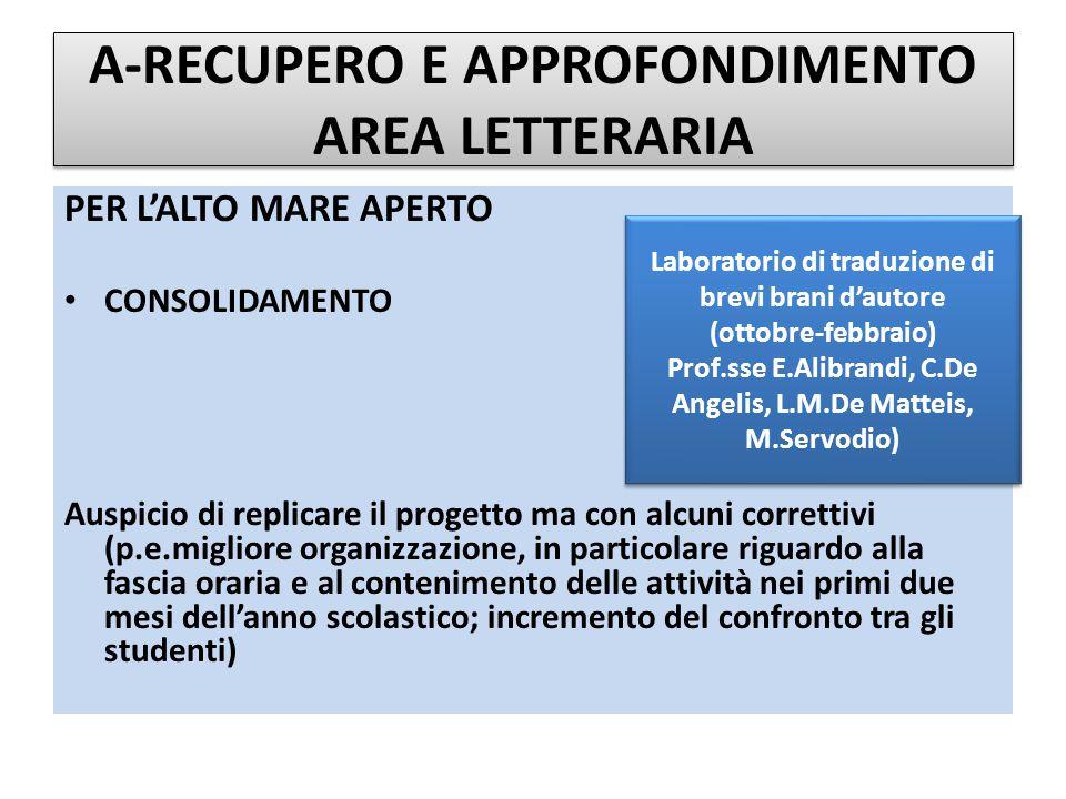 A-RECUPERO E APPROFONDIMENTO AREA LETTERARIA