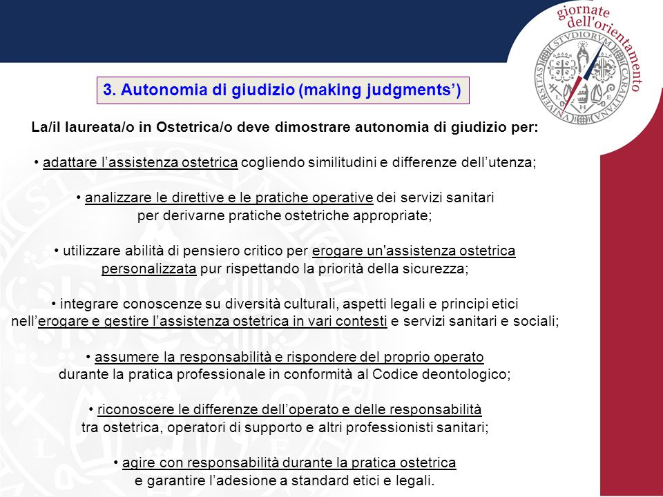 3. Autonomia di giudizio (making judgments')