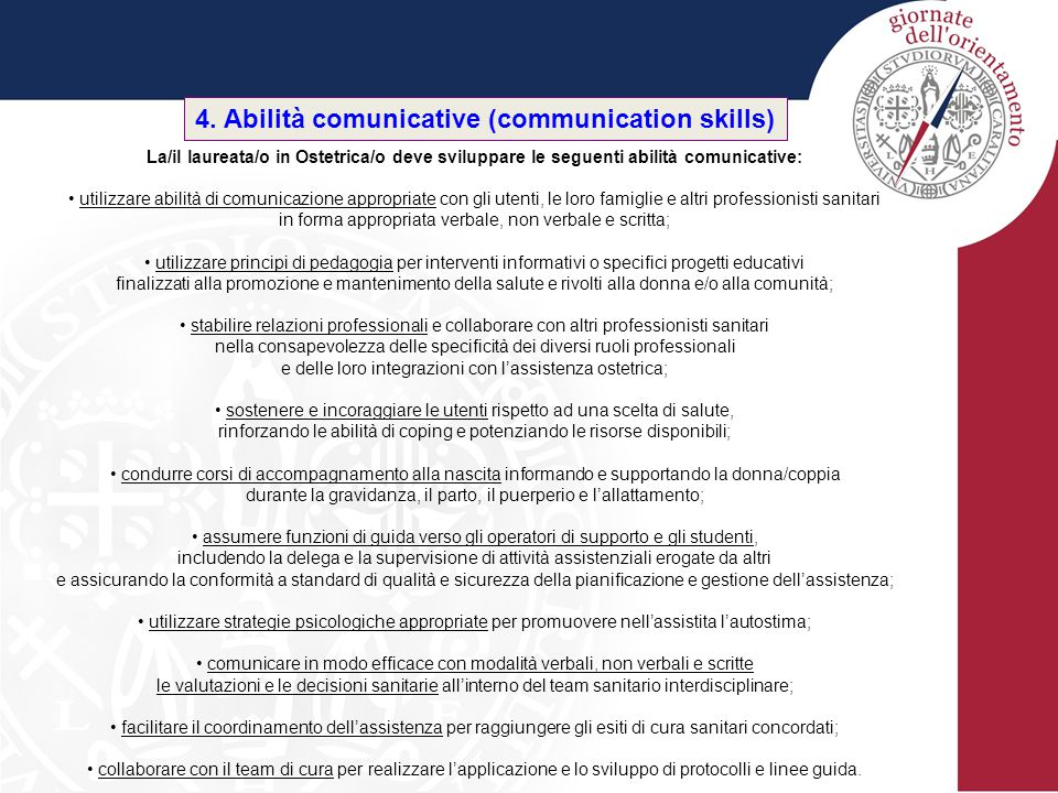4. Abilità comunicative (communication skills)