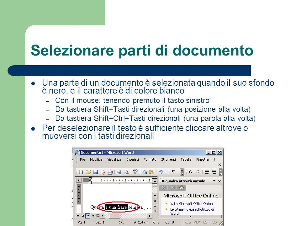 Selezionare parti di documento