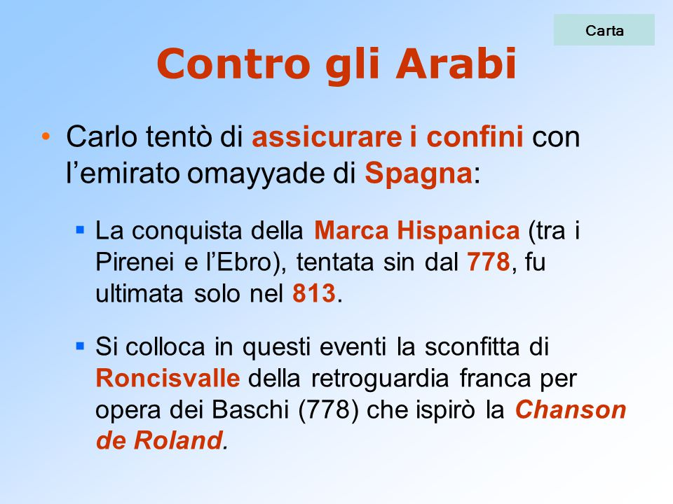 Carta Contro gli Arabi. Carlo tentò di assicurare i confini con l'emirato omayyade di Spagna: