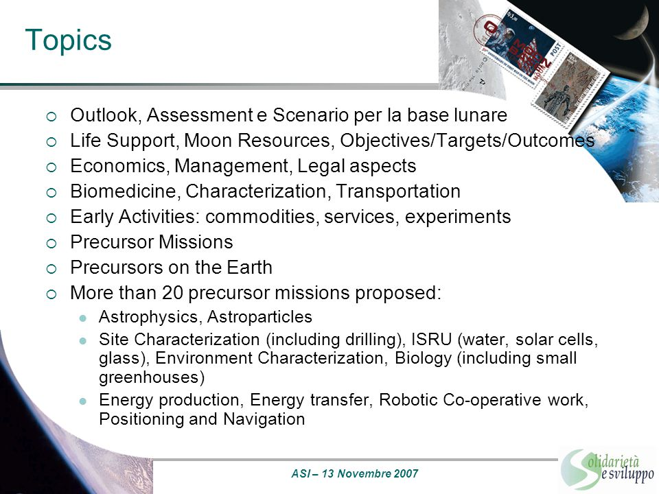 Topics Outlook, Assessment e Scenario per la base lunare