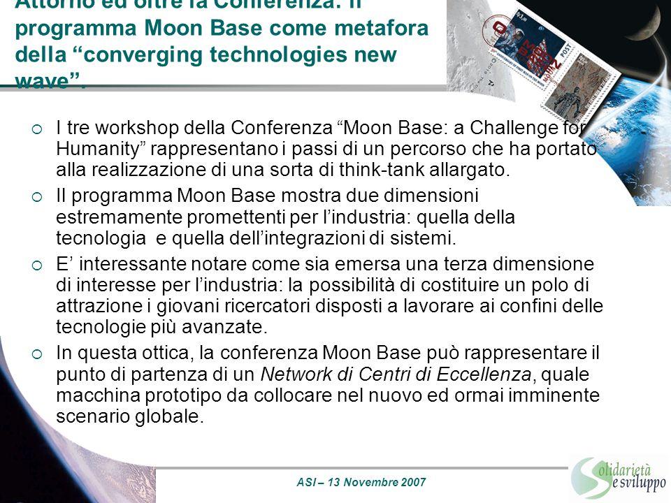 Attorno ed oltre la Conferenza: il programma Moon Base come metafora della converging technologies new wave .