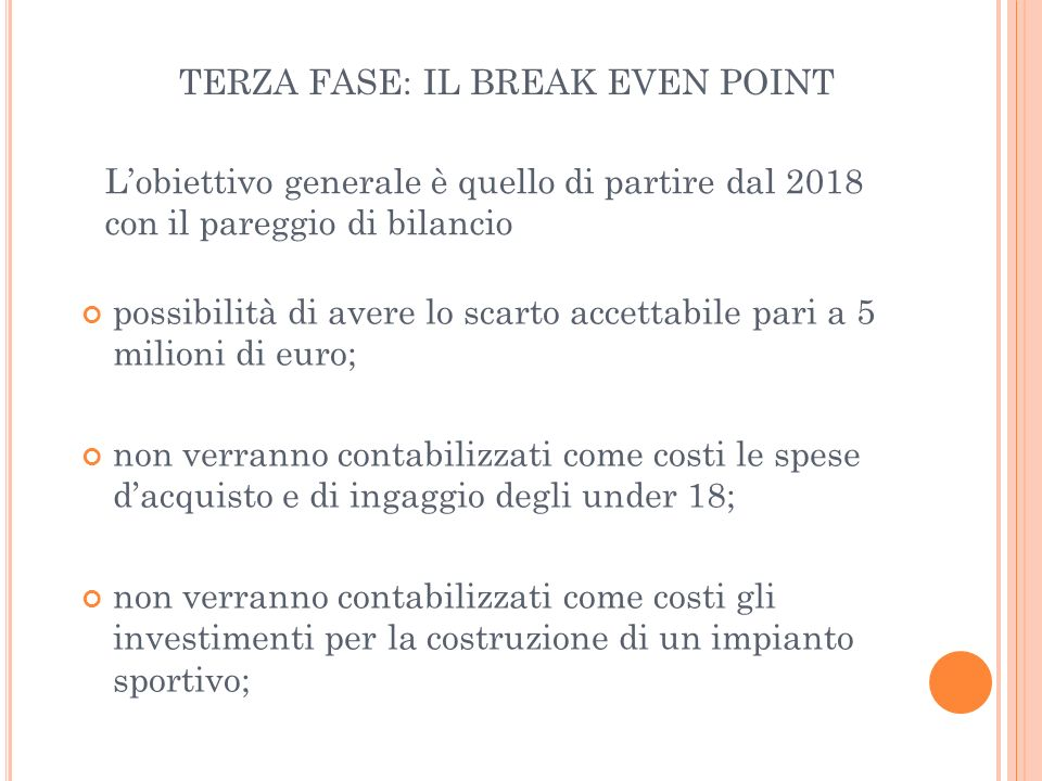 TERZA FASE: IL BREAK EVEN POINT