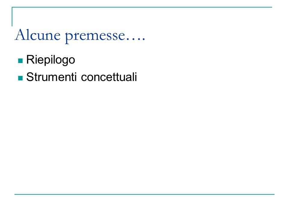 Alcune premesse…. Riepilogo Strumenti concettuali 3