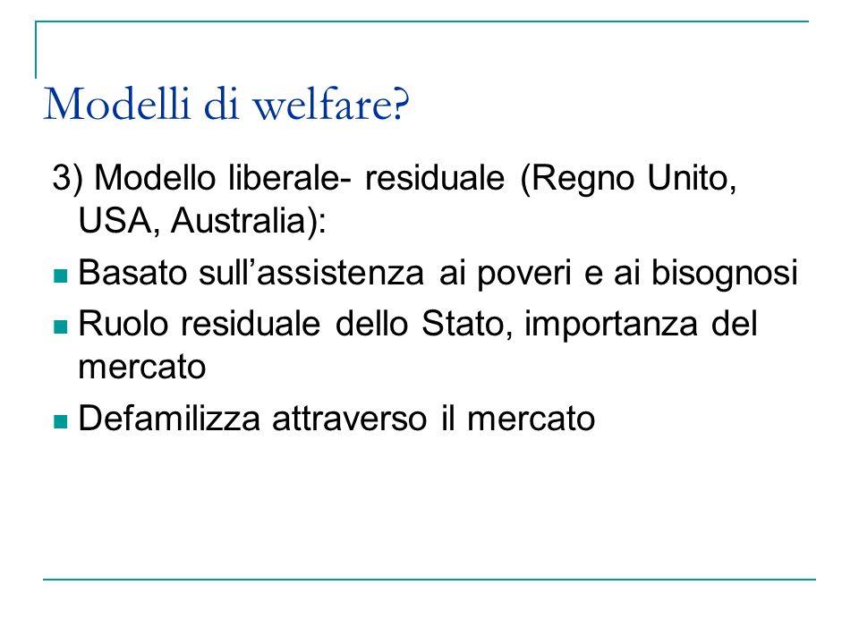 Modelli di welfare 3) Modello liberale- residuale (Regno Unito, USA, Australia): Basato sull'assistenza ai poveri e ai bisognosi.