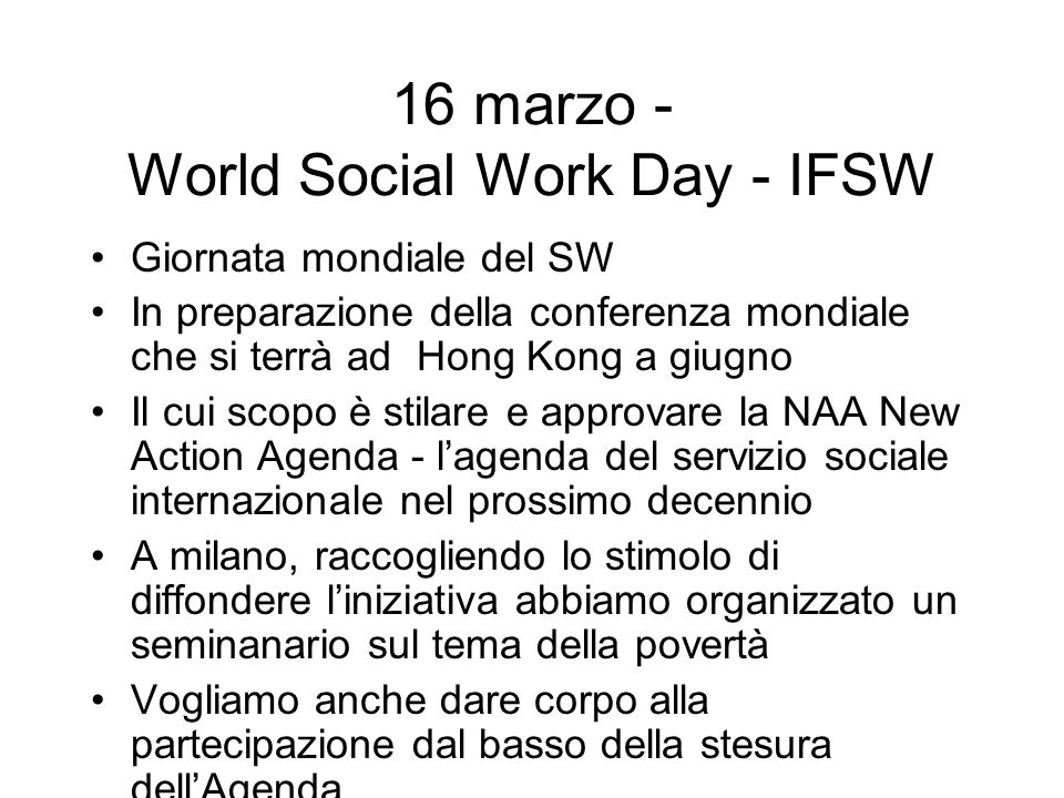 16 marzo - World Social Work Day - IFSW
