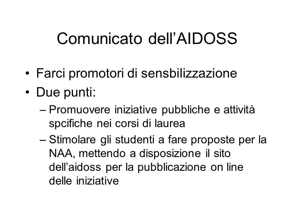 Comunicato dell'AIDOSS