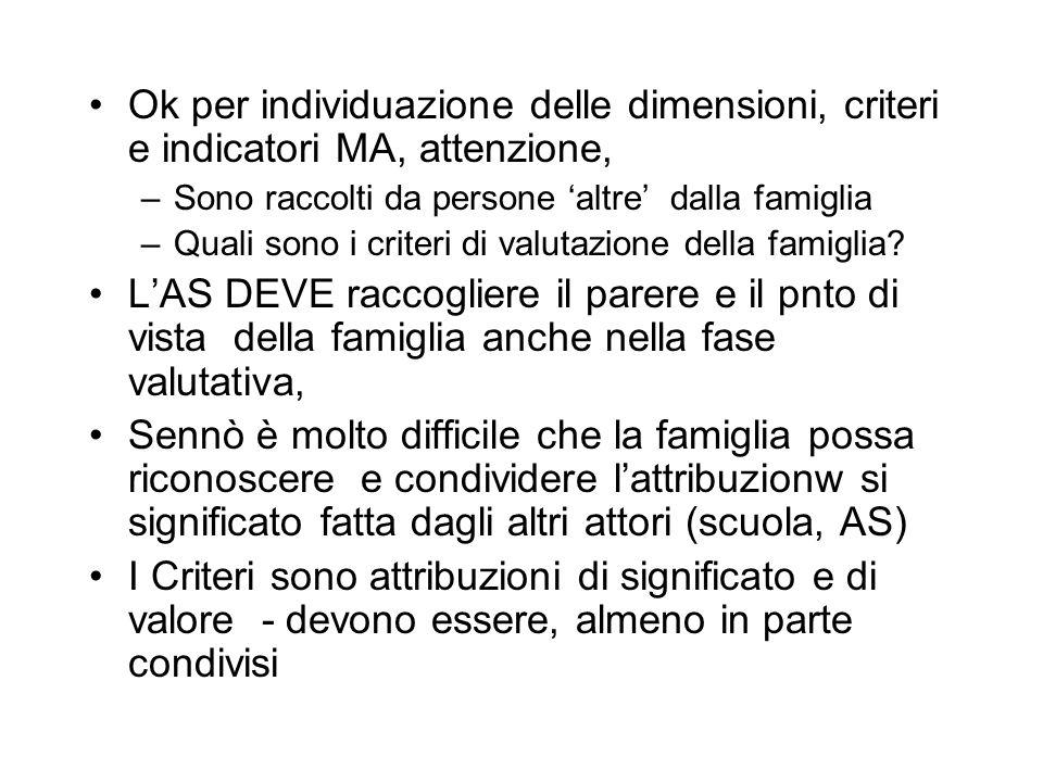 Ok per individuazione delle dimensioni, criteri e indicatori MA, attenzione,