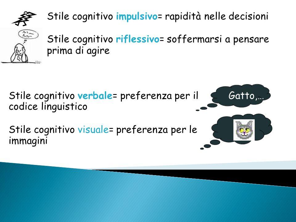 Stile cognitivo impulsivo= rapidità nelle decisioni