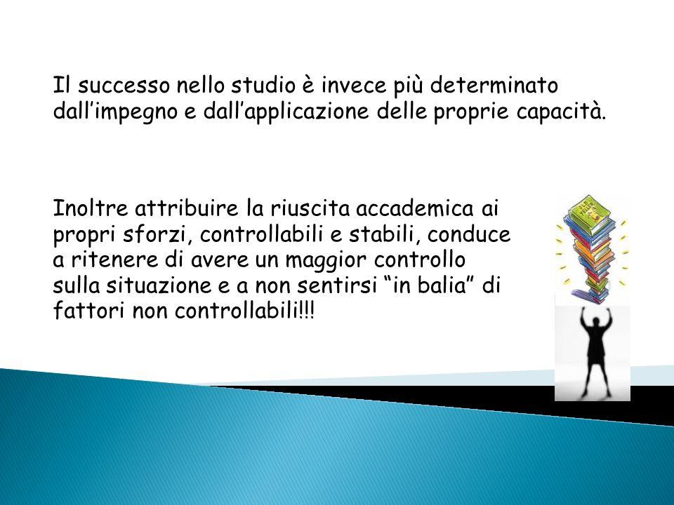 Il successo nello studio è invece più determinato dall'impegno e dall'applicazione delle proprie capacità.