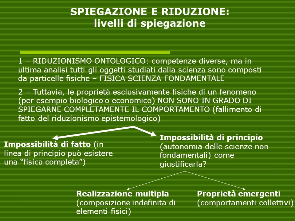 SPIEGAZIONE E RIDUZIONE: livelli di spiegazione