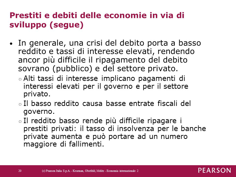 Prestiti e debiti delle economie in via di sviluppo (segue)
