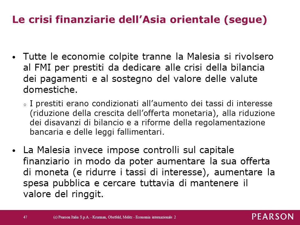 Le crisi finanziarie dell'Asia orientale (segue)