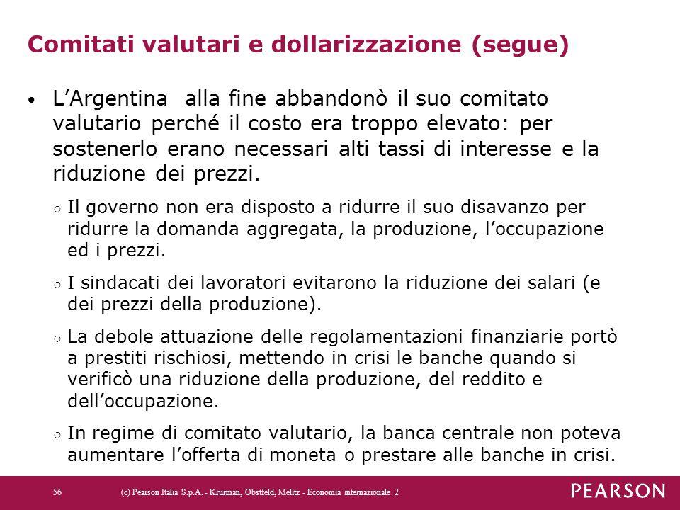 Comitati valutari e dollarizzazione (segue)