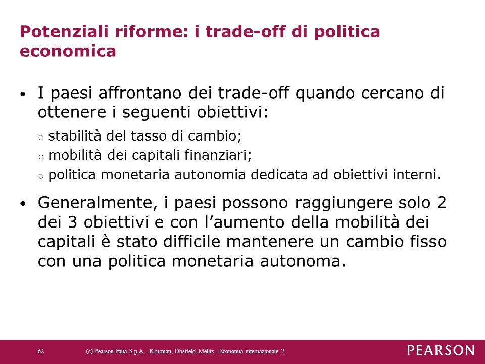 Potenziali riforme: i trade-off di politica economica