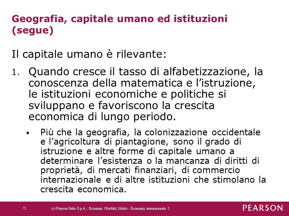 Geografia, capitale umano ed istituzioni (segue)