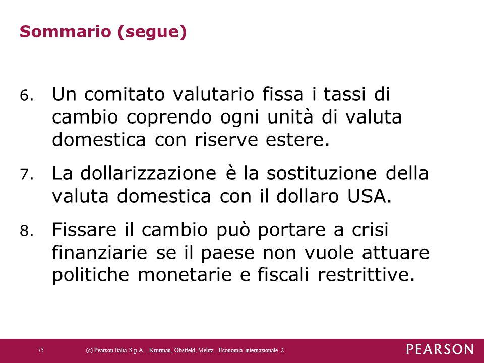 Sommario (segue) Un comitato valutario fissa i tassi di cambio coprendo ogni unità di valuta domestica con riserve estere.