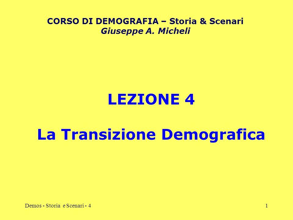 CORSO DI DEMOGRAFIA – Storia & Scenari La Transizione Demografica