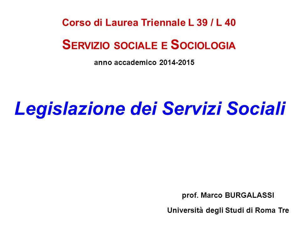 Legislazione dei Servizi Sociali