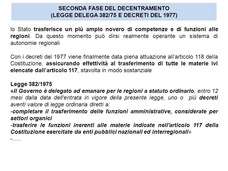 SECONDA FASE DEL DECENTRAMENTO (LEGGE DELEGA 382/75 E DECRETI DEL 1977)