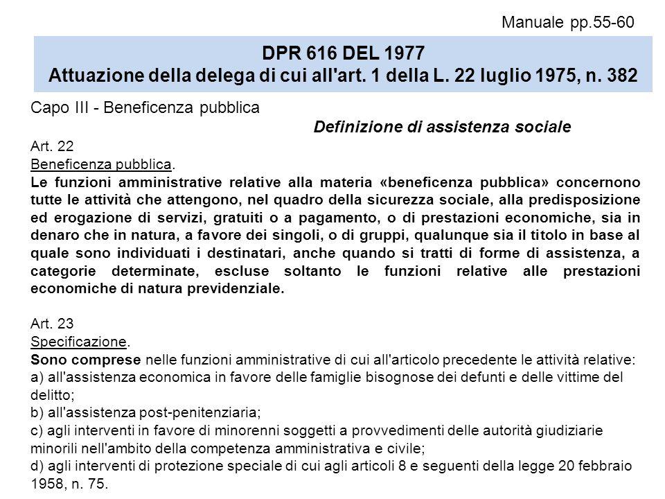 Manuale pp.55-60 DPR 616 DEL 1977 Attuazione della delega di cui all art. 1 della L. 22 luglio 1975, n. 382.